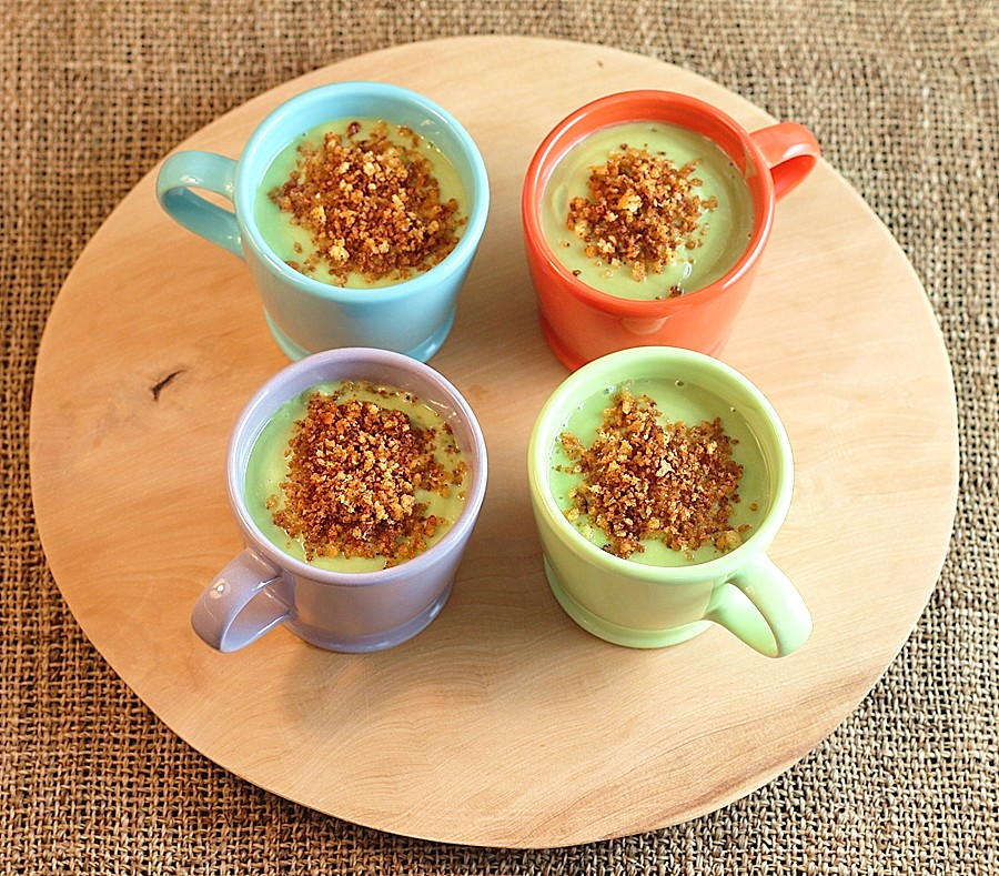 Chilled Avocado Soup Shots with Spicy Breadcrumbs | First Look, Then ...
