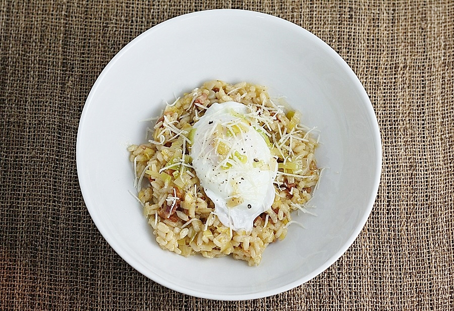 Bacon and Leek Risotto with Poached Egg | First Look, Then Cook