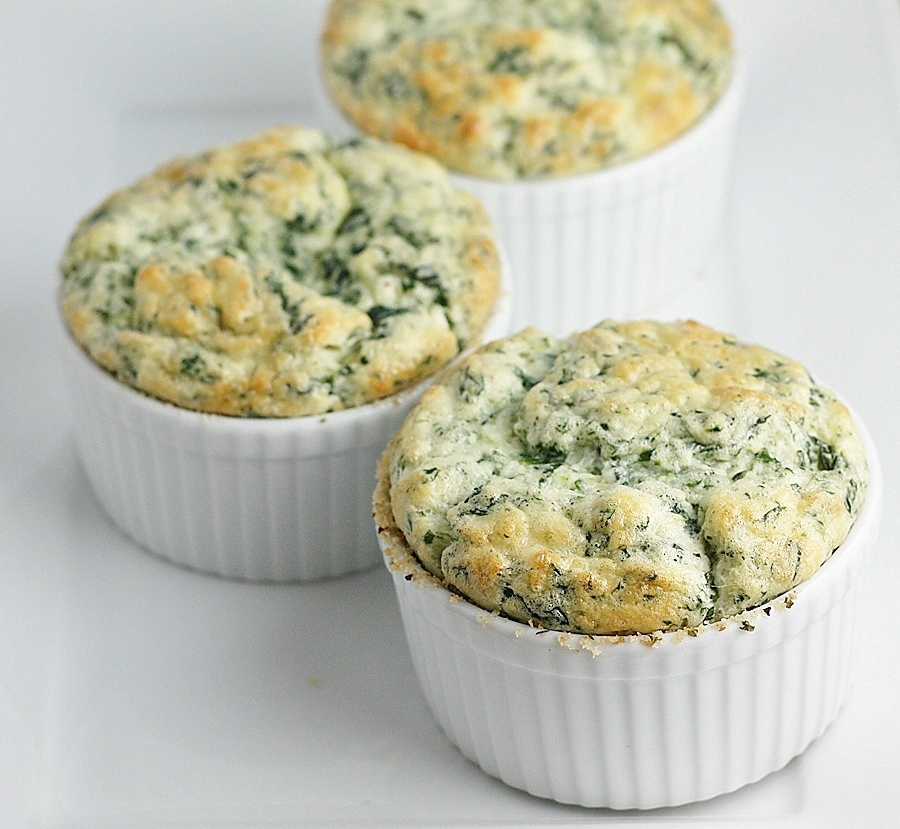 spinach and parmesan souffles – first look, then cook