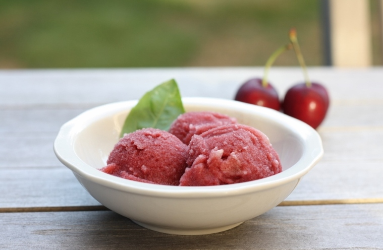 Cherry-Grapefruit Basil Sorbet