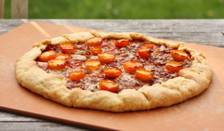 Caramelized Onion, Tomato and Blue Cheese Galette